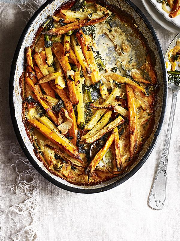Swede, kale and sweet potato gratin