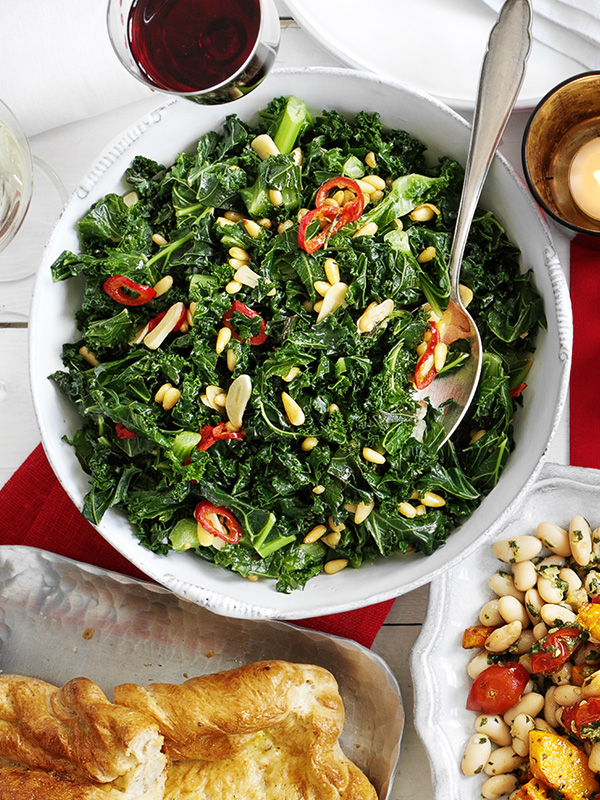 Winter greens with pine nuts, chilli and garlic