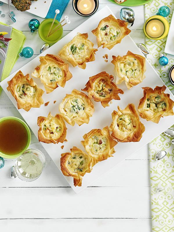 Little prawn poppadoms recipe olive magazine mini pancetta filo pies forumfinder Images
