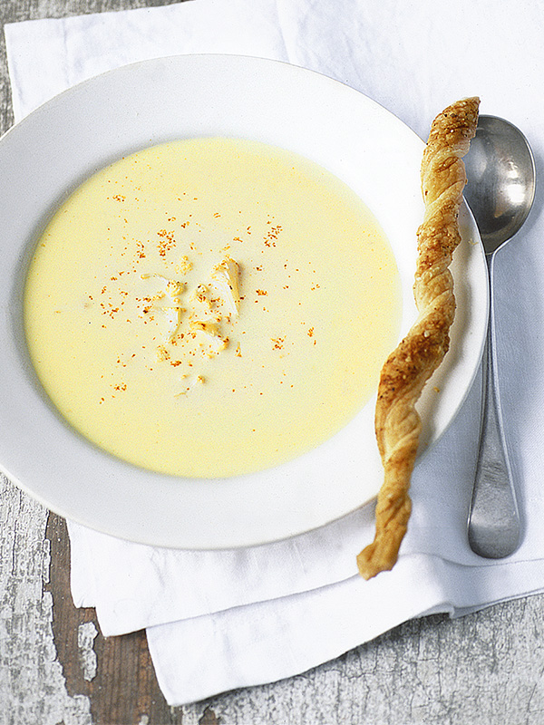 Cauliflower soup with cheese straws