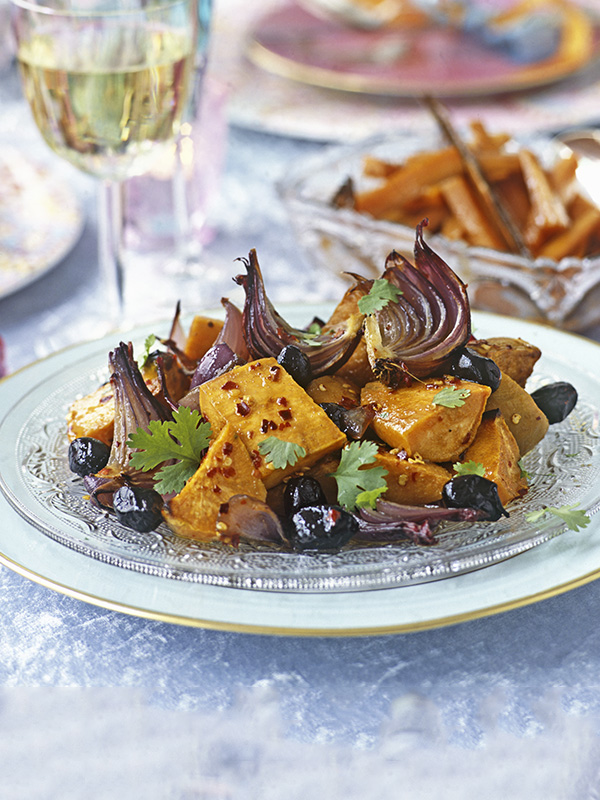 Honey-roasted sweet potato with red onions