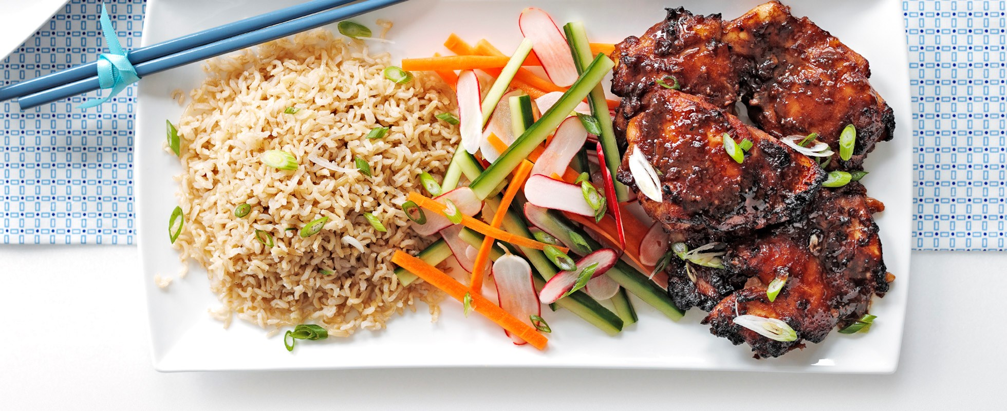 home quick and easy sesame miso chicken with sweet and sour salad
