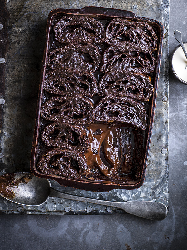 Pain au choc bread and butter pudding