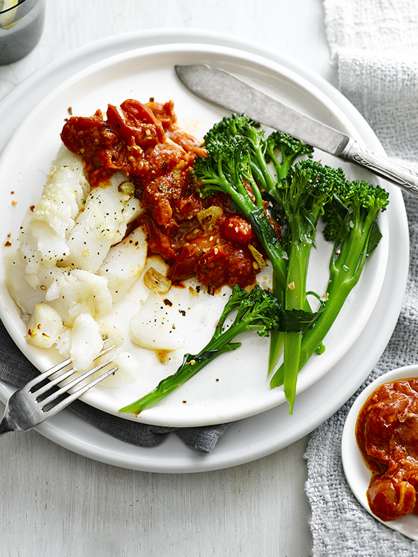Grilled cod with salsa rossa