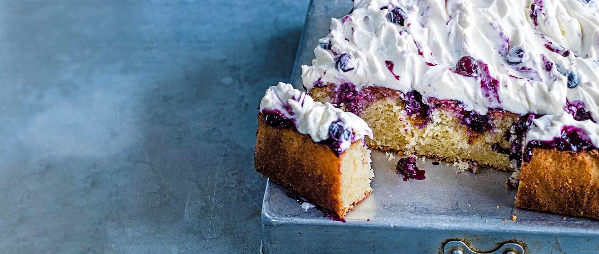 Lemon and blueberry poke cake
