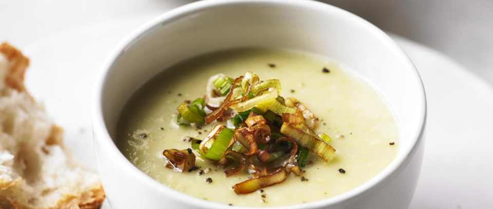 Leek and potato soup with frizzled leeks recipe