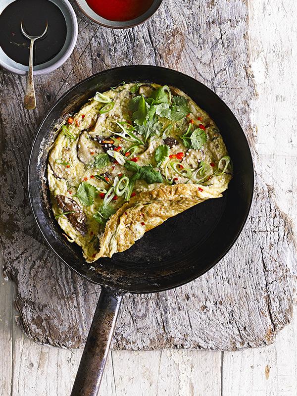Ginger, spring onion and mushroom omelette