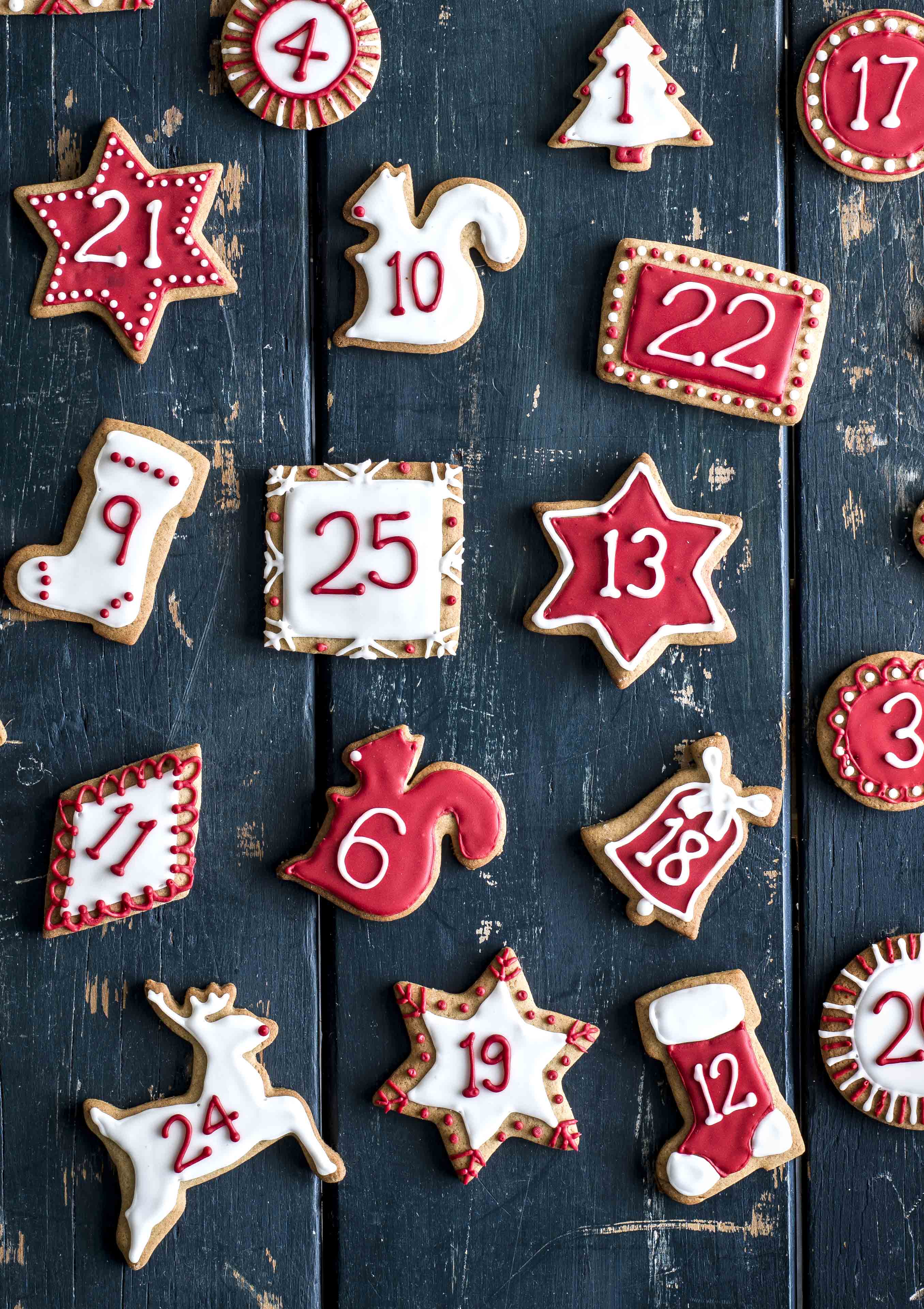 Christmas Advent Biscuits Recipe - Different Christmas shapes with number and with red and white icing sugar