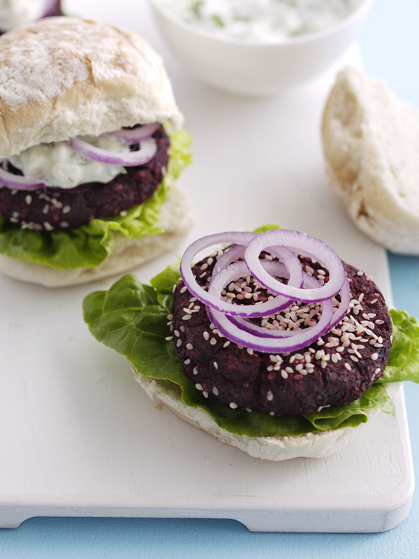 Veggie Burger Recipe For Beetroot Burgers With Feta Sauce