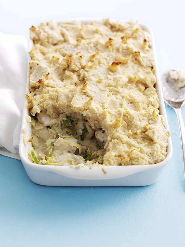 Chicken and shredded sprouts pie with butterbean mash