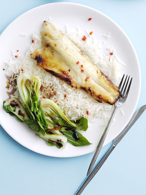 Miso Sea Bass Fillet Recipe with Ginger Greens