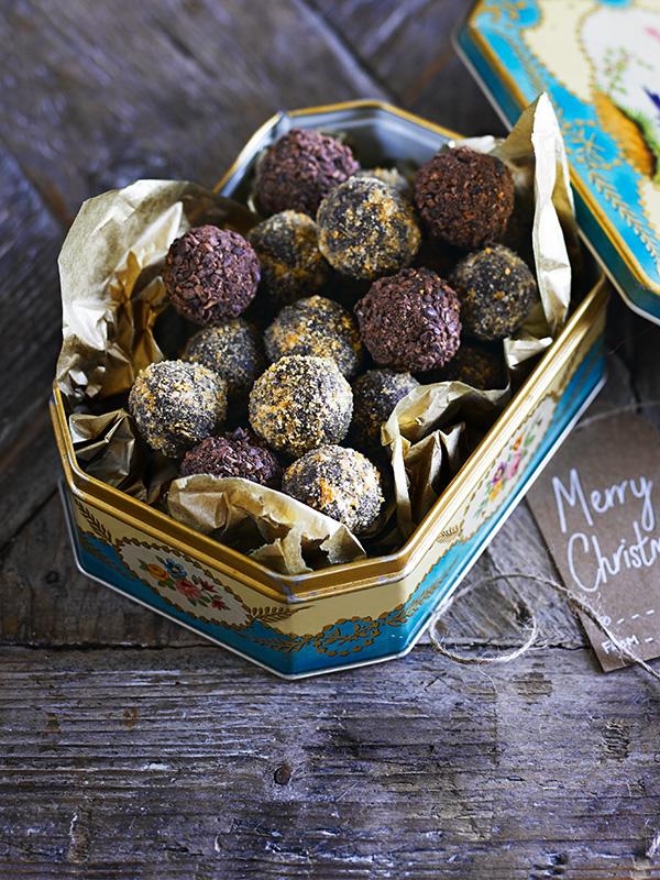 Chestnut Christmas Truffles Recipein a turquoise tin