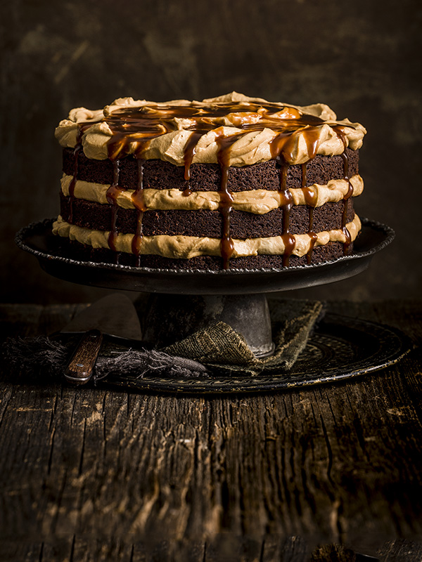 Chocolate and burnt butterscotch layer cake