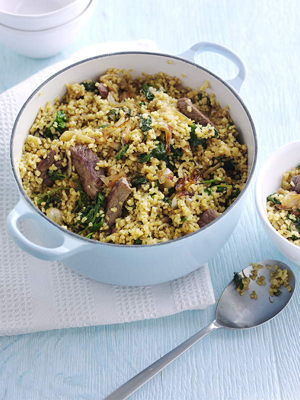 Healthier lamb and spinach bulgar wheat pilaf