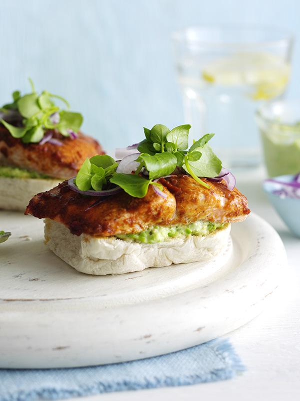 Harissa Salmon Sandwich With Pea Hummus Recipe Olive