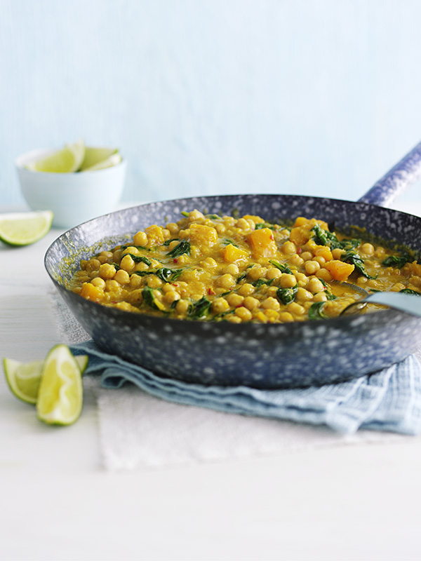 Healthy chicken curry recipe olive magazine chickpea and squash coconut curry in a grey pan forumfinder Images