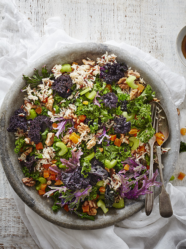 Winter Green Salad Recipe with Rice and Walnuts