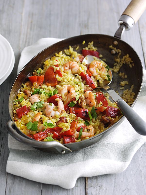 Quick Prawn And Chorizo Paella Recipe Olive Magazine