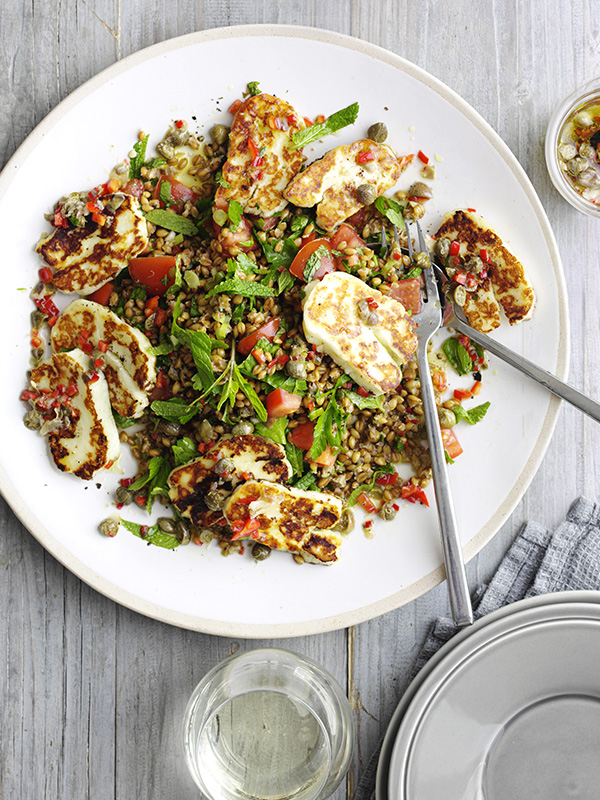Bet halloumi recipes - Halloumi with caper and lemon dressing