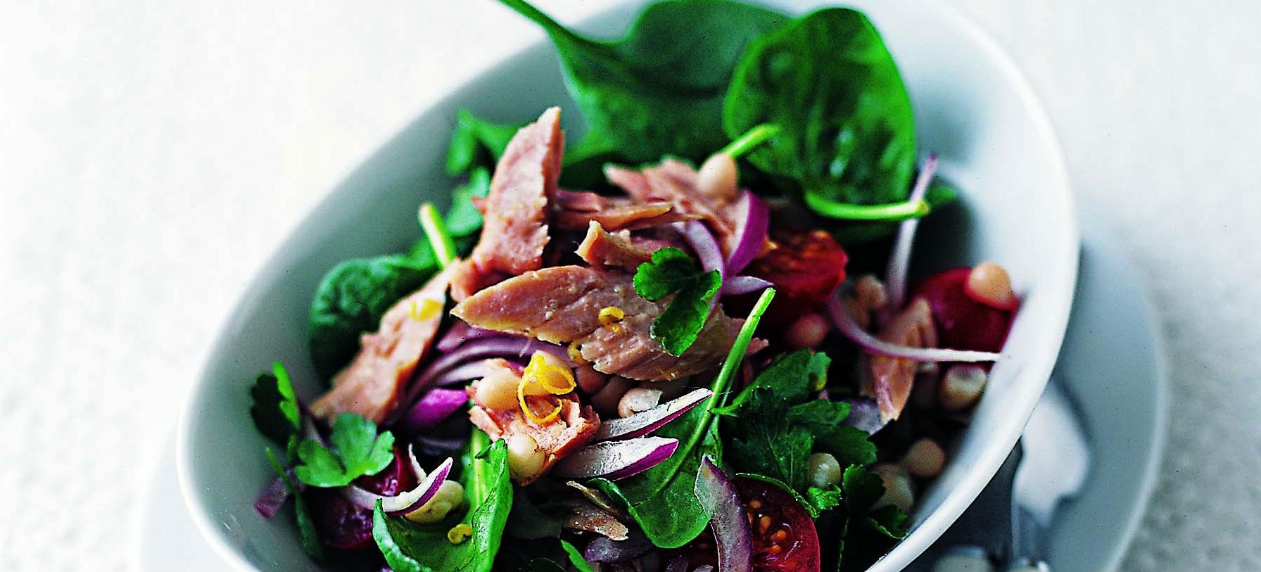 Tuna, cannellini and spinach salad