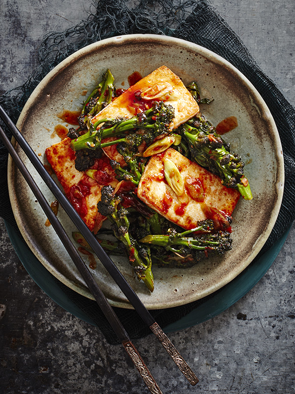 Chinese-style purple sprouting broccoli with tofu