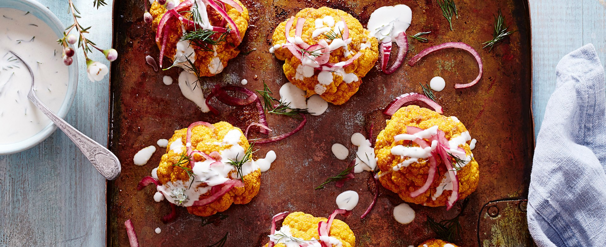 roasted cauliflower with pink onions