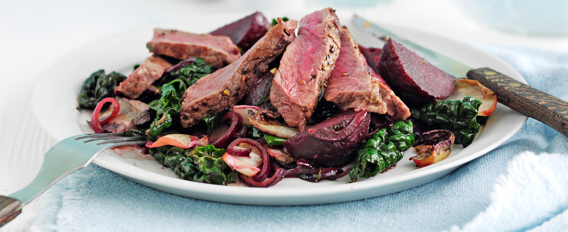 steak with beets