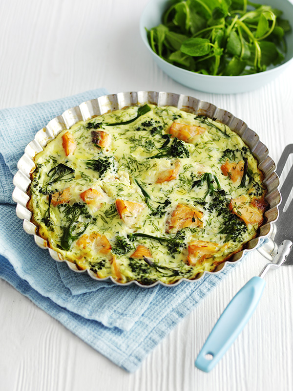 Crustless quiche recipe with salmon and broccoli olive for Fish and broccoli diet