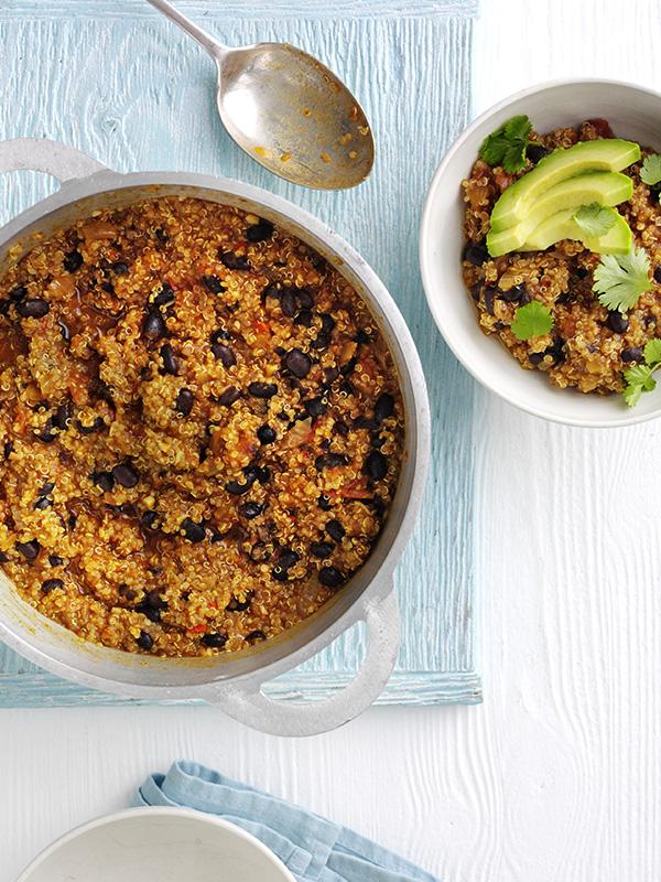 Quick quinoa and black bean vegan chilli