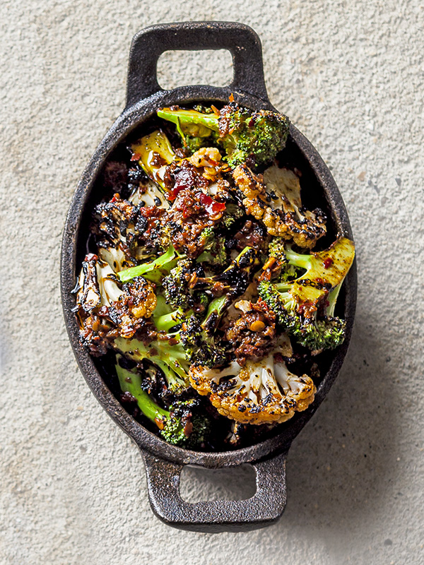 Chargrilled broccoli and cauliflower with harissa