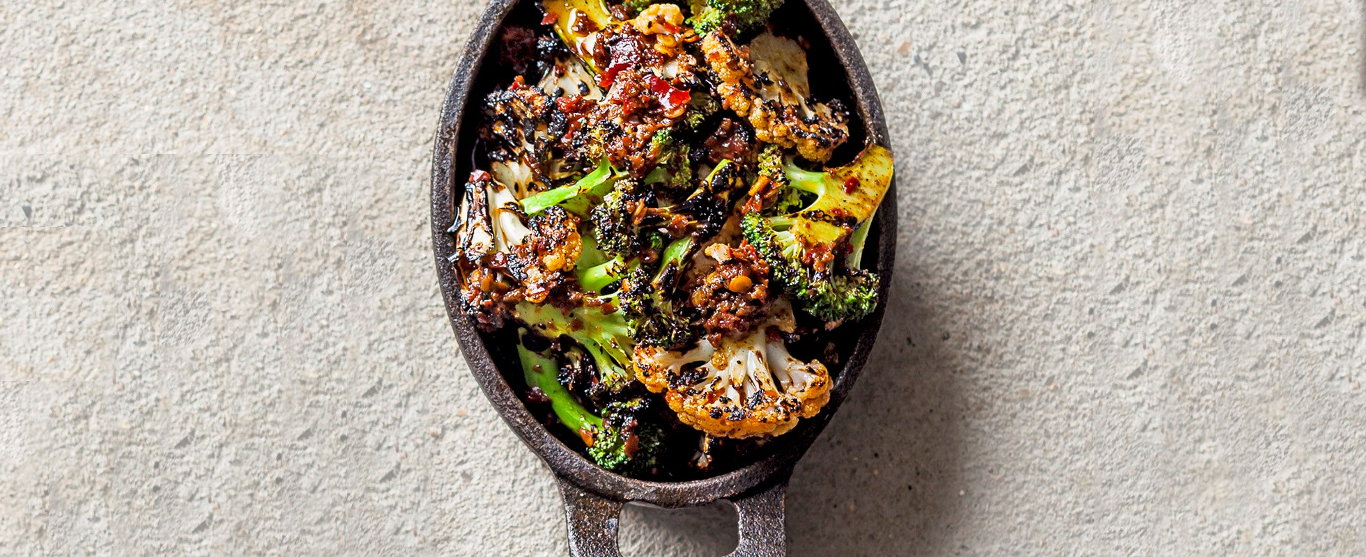 Chargrilled broccoli with harissa