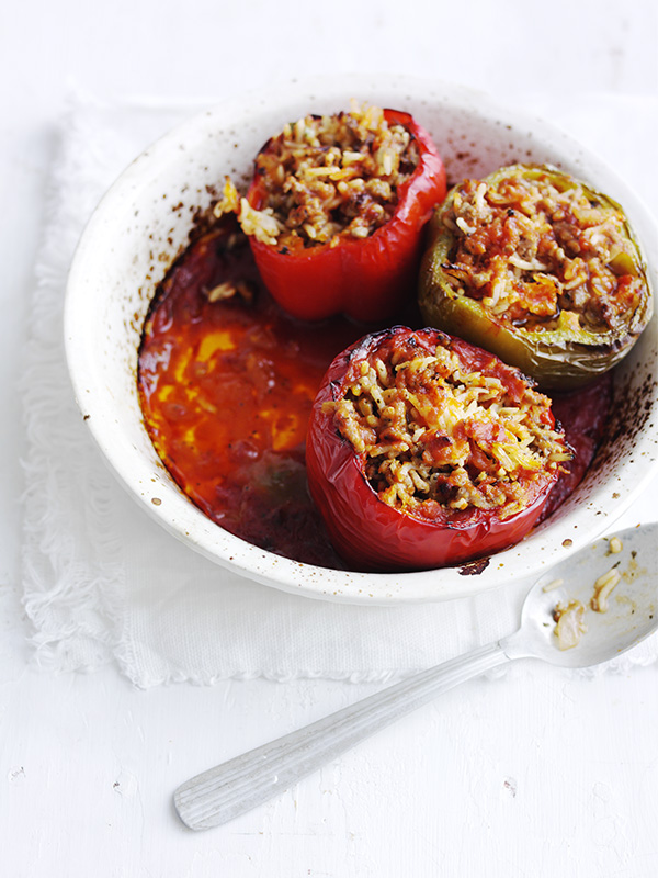 Lamb-stuffed baked peppers