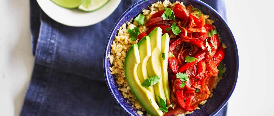 Vegan fajita bowl with cauli rice