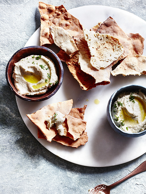 Baba ganoush with cumin crispbreads