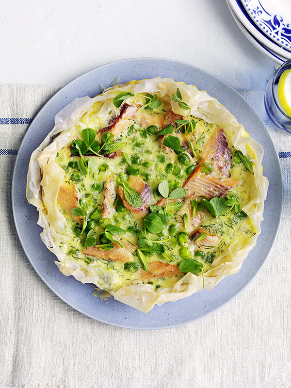 Trout and broad bean filo tart