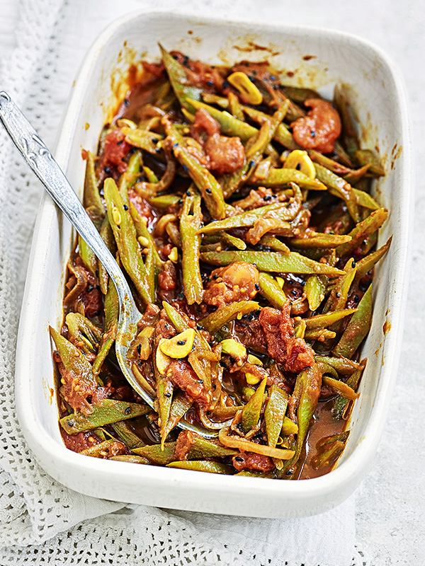 Runner beans with tomato