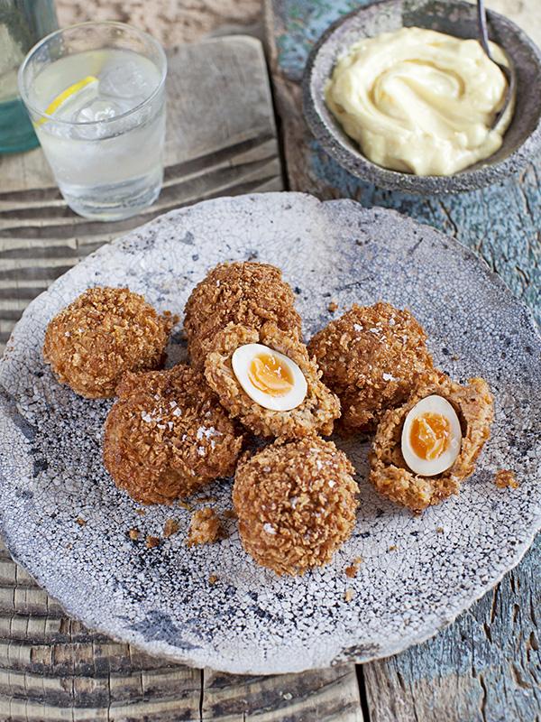 Quail Scotch Eggs Recipe with Crab
