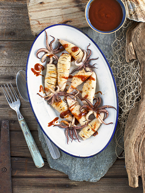 Spicy squid with Japanese BBQ sauce