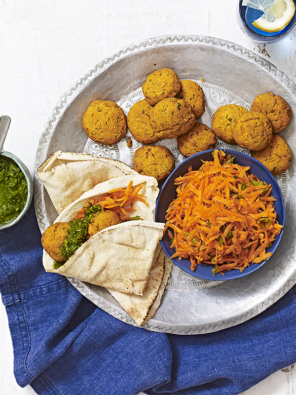 Sweet Potato Falafel Recipe With Coriander Chutney and Carrot Salad