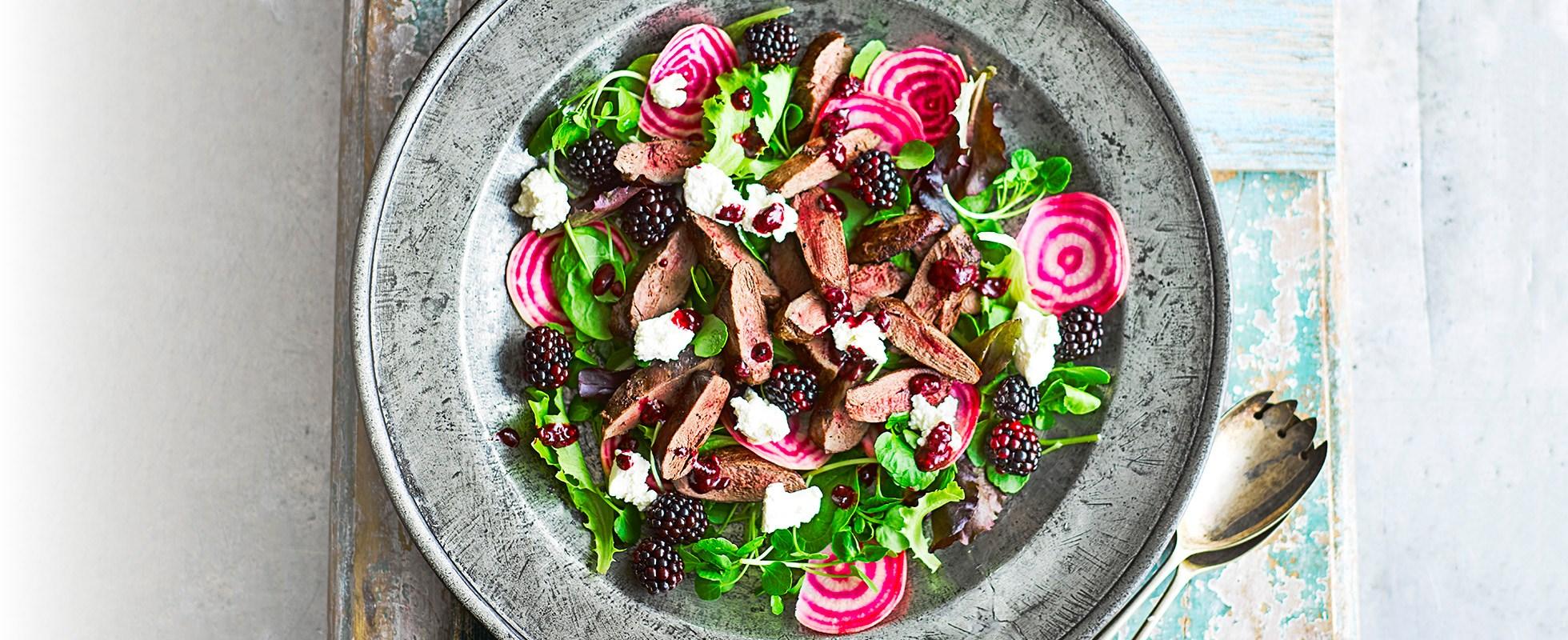 Blackberry, ricotta and pigeon salad