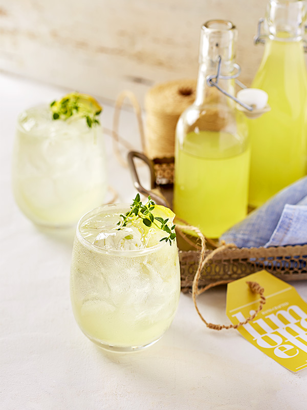 Limoncello and thyme collins