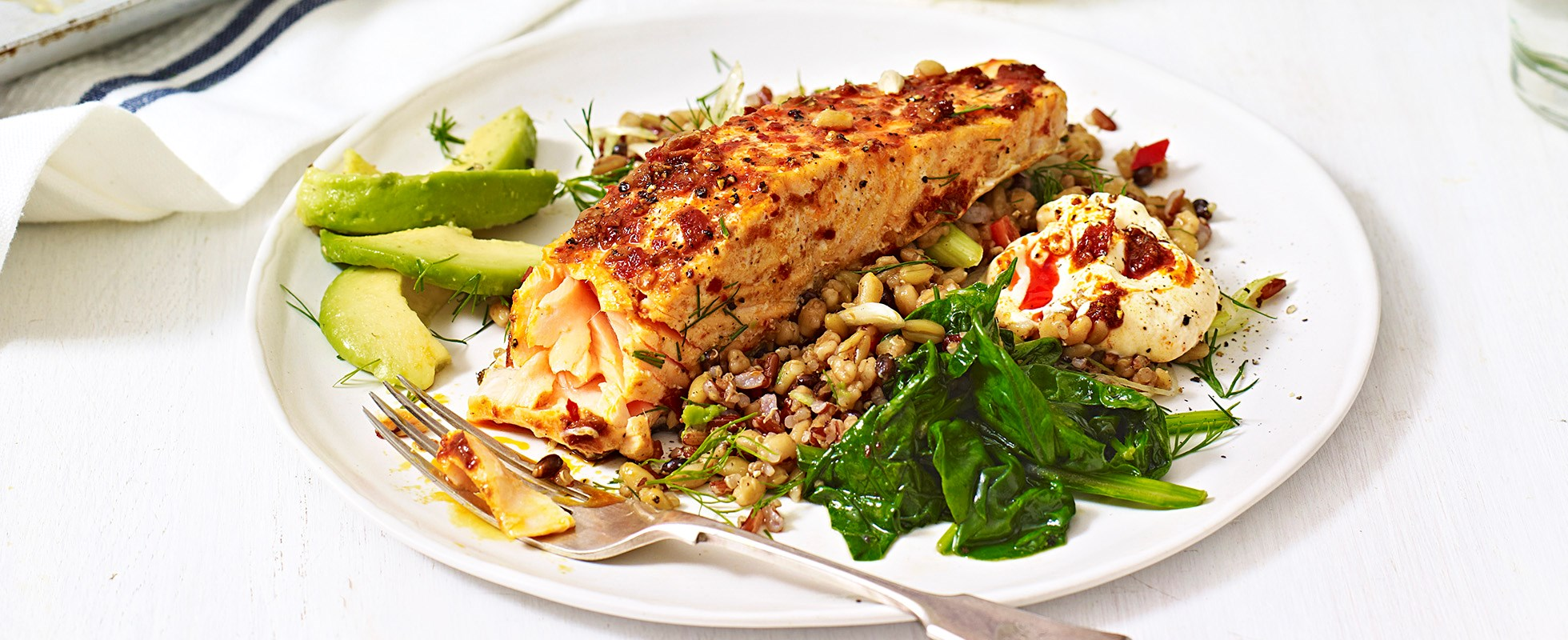 Harissa salmon with mixed grains and spinach - best quinoa recipes