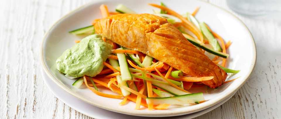 Sriracha Salmon with Avocado Cream recipe