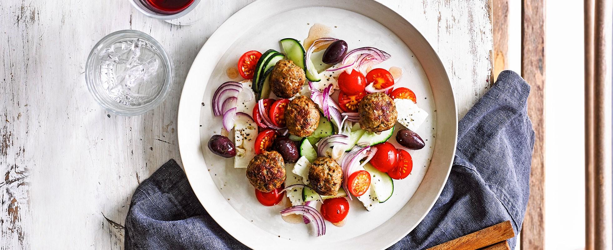 Lamb and dill meatballs with horitaki salad