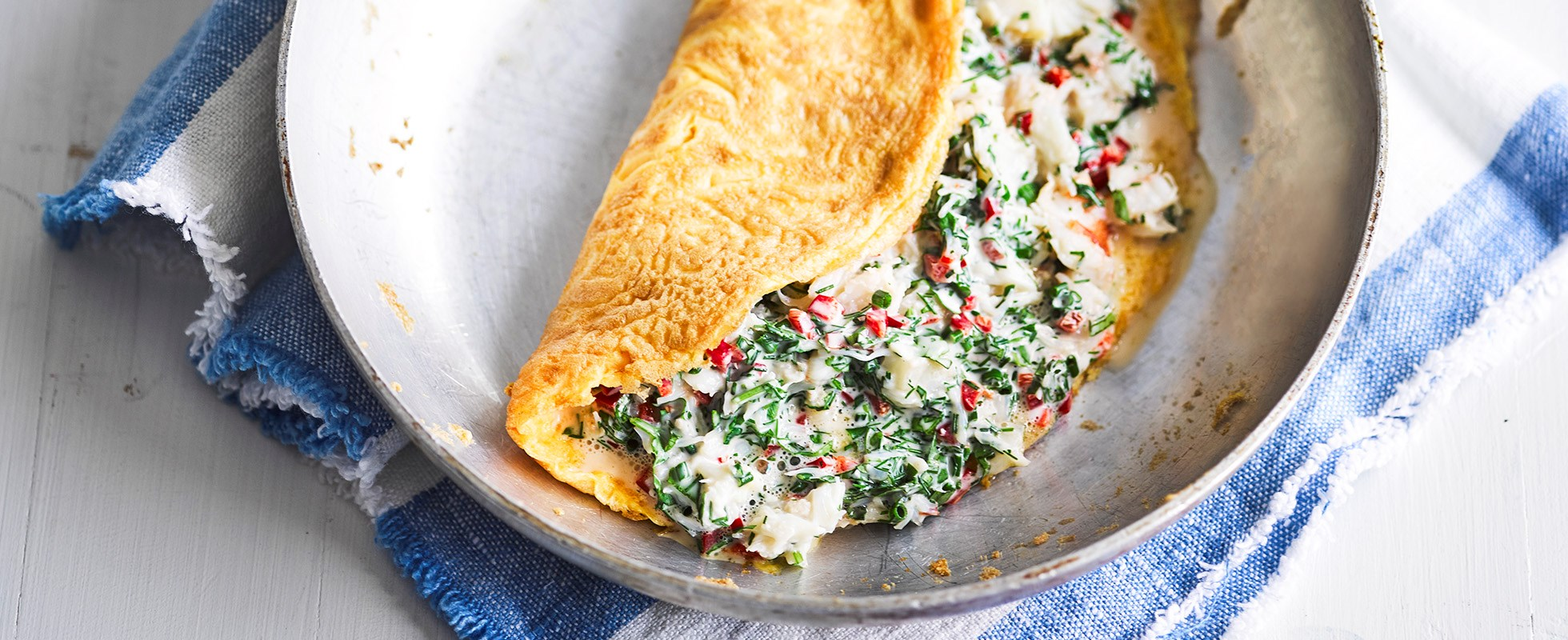 Crab, chilli and herb omelette