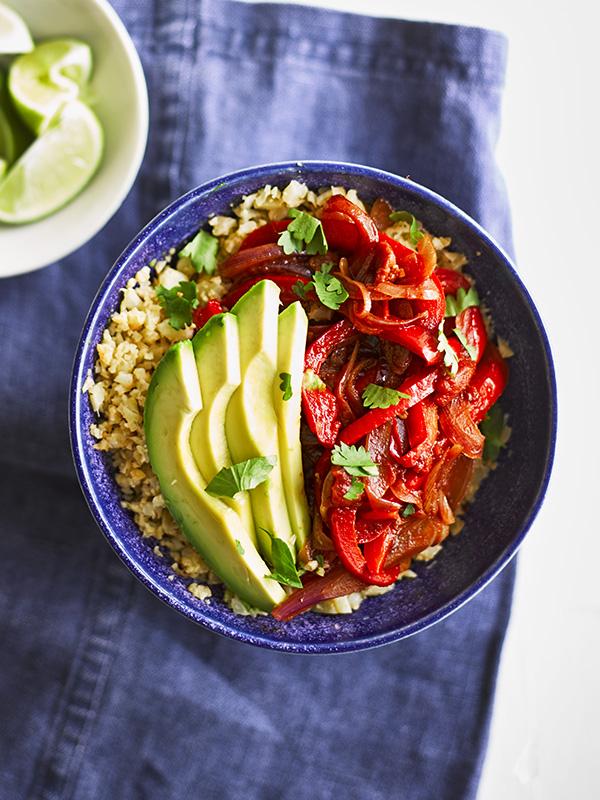 Vegan Fajita Bowl with Cauliflower Rice Recipe