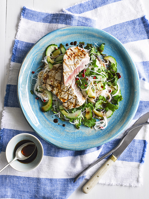 33 Healthy Low Fat Recipes Tuna Steak Recipe with Ponzu Sauce and Rice Noodles