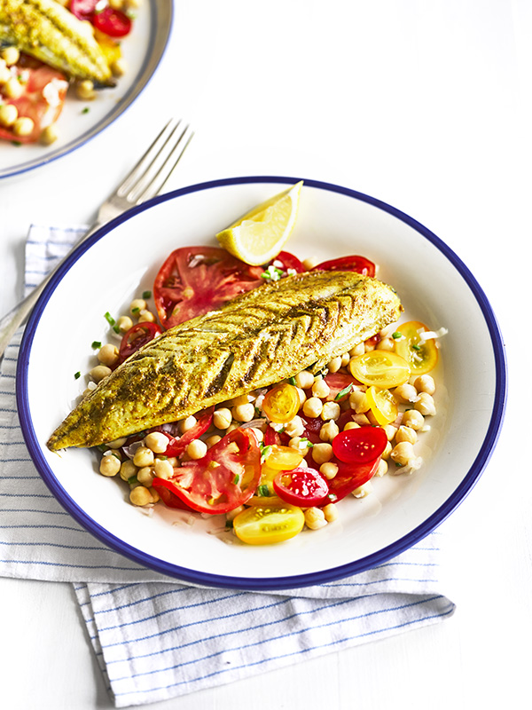 Indian-spiced mackerel with heirloom tomato salad