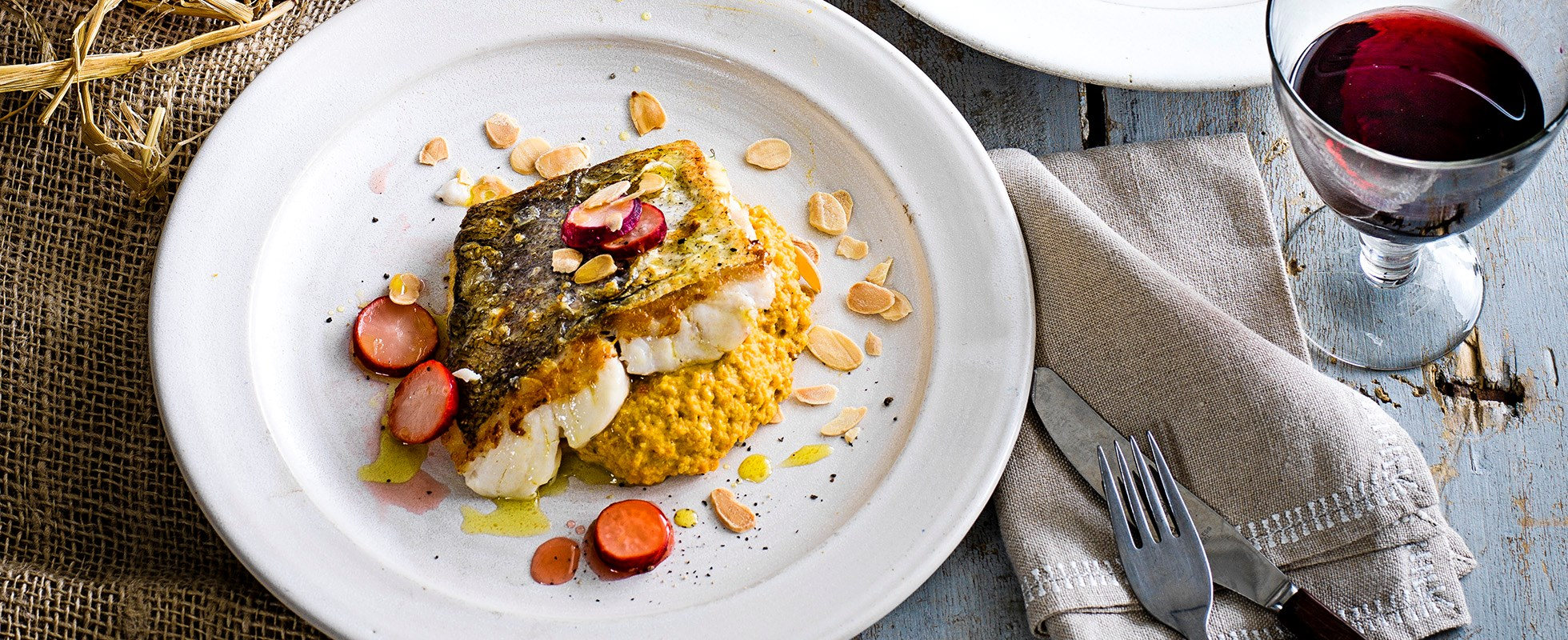 Squash, carrot and almond purée