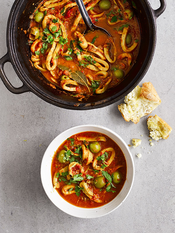 Slow Cooked Squid With Olives And Tomatoes Olive Magazine